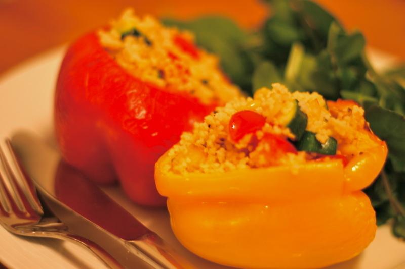 Grilované papriky plněné kuskusem