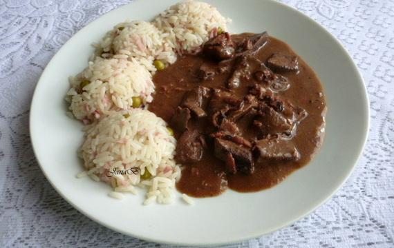 Vepřová játra se šunkovou rýží