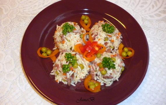 Rizoto s uzeným masem a zeleninou