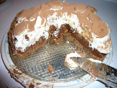 Čokoládovo-smetanový dort s banány