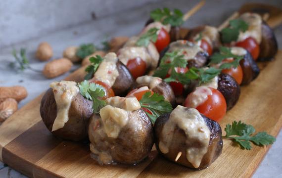 Grilované houby s uzeným masem