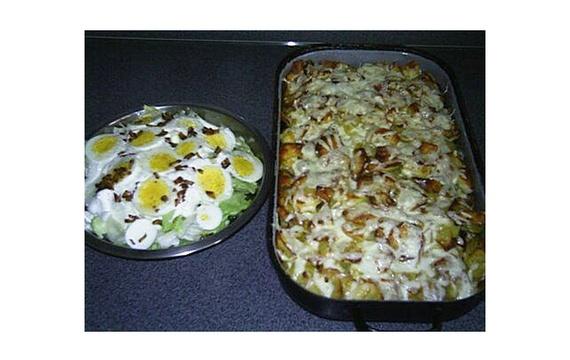 Zapékané brambory s houbami