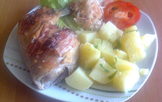 Kuřecí maso s hořčicí a anglickou slaninou