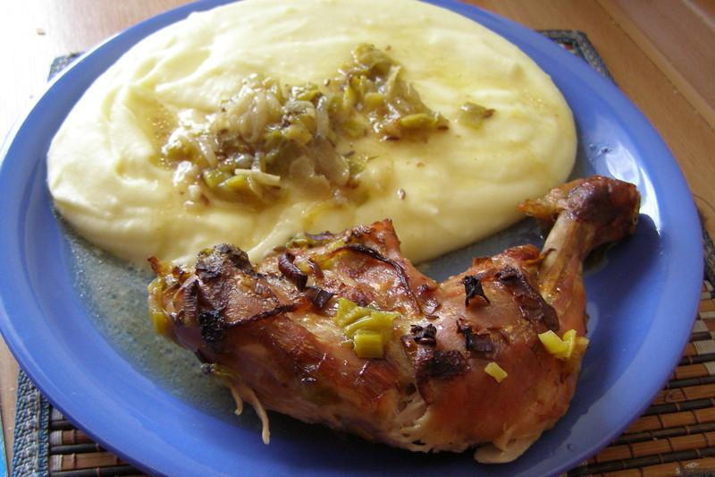 Kuře pečené na pórku
