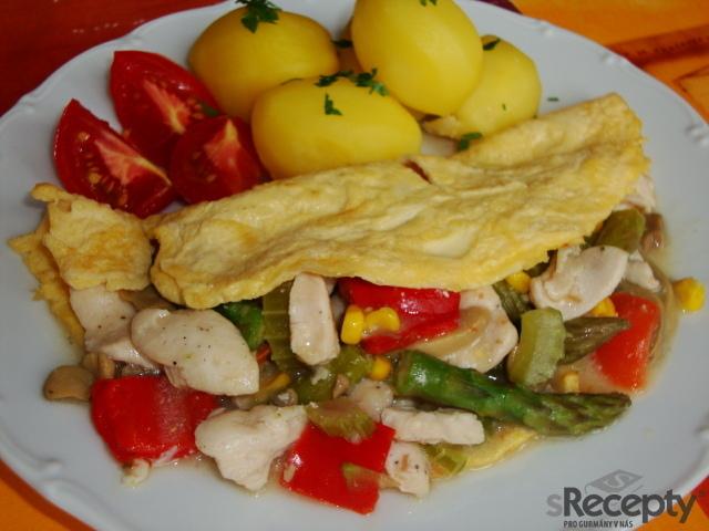 Kuřecí soté s chřestem v omeletě