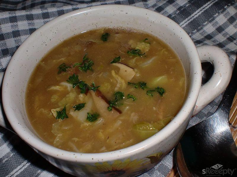 Kapustová polévka s houbami