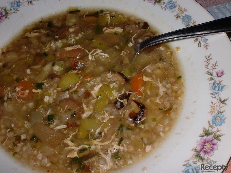 Pórkovo - houbová polévka s pohankou