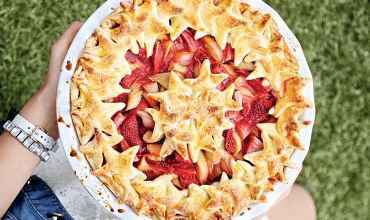 Jahodovo-rebarborový koláč
