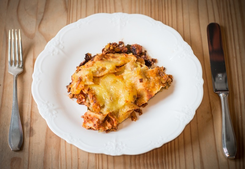 Houbové lasagne s bešamelem