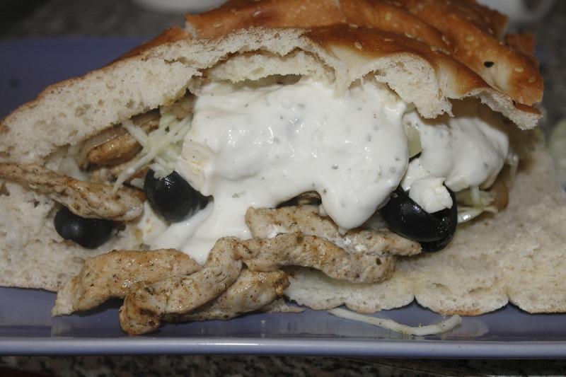 Řecký kuřecí kebab