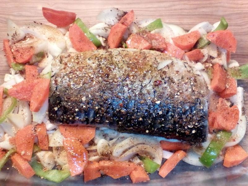Kapr pečený na zelenině