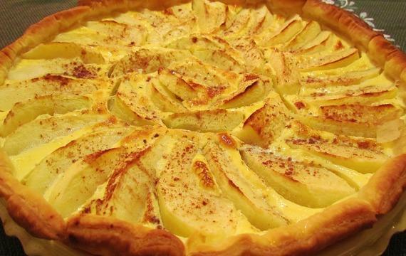 Pudinkovo-jablečný dort